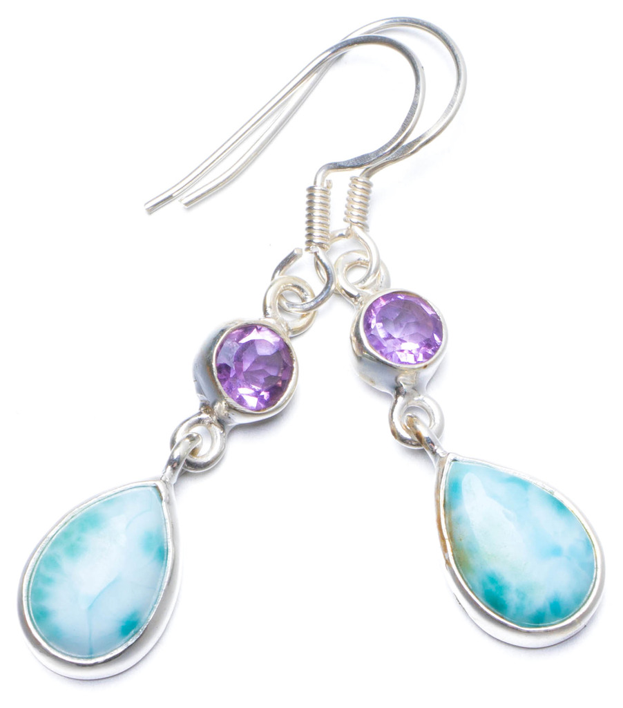 Natural Caribbean Larimar and Amethyst Handmade Unique 925 Sterling Silver Earrings 1.5 X5096