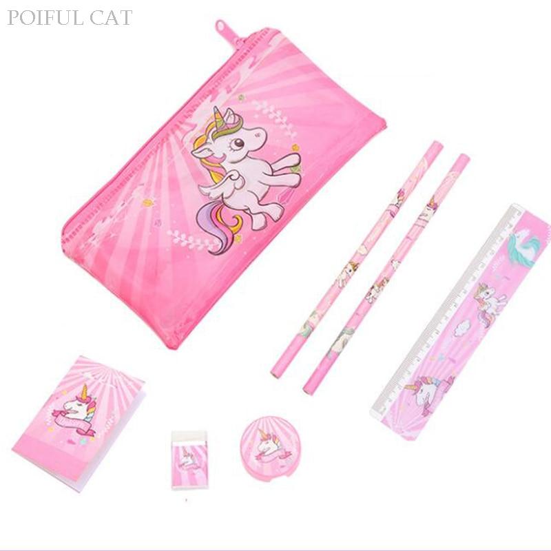 1 PCS Cartoon Unicorn Pencil Case For Girls Cute Stationery Set Pen Bag With Ruler Eraser Kids Gift Office School Supplies Zakka