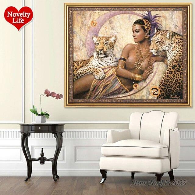 دهان داي بواسطة أرقام مثير الجمال والوحش الحيوان رسمت باليد قماش ديكور المنزل جدار صورة فنية غرفة المعيشة هدية فريدة