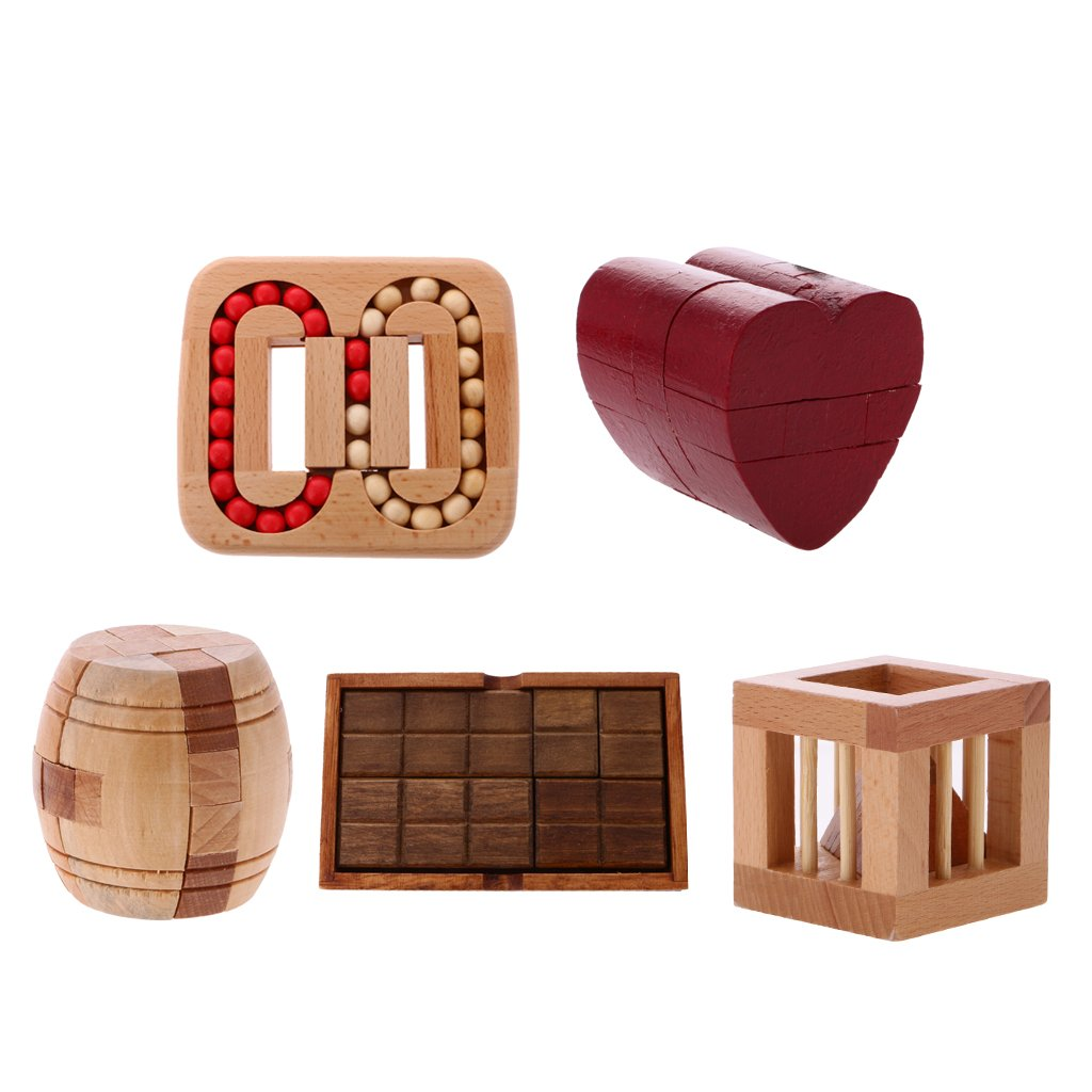 5pcs Wooden Kong Ming Lock Classic Chinese Magic Puzzle Intelligence IQ Game Riddle Brain Teaser Toys Gift for Children Adults