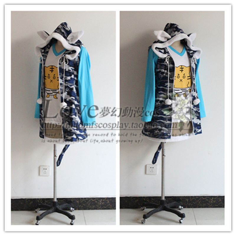 Anime Super Sonic Cosplay Costume Party Lolita DressTiger T-shirt +Cat Jacket + Skirt Version Set Casual Whole Suits