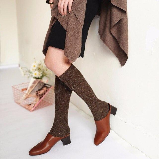 9c4f150013e Bas décontracté coton laine femmes bas sur les genoux chaussettes tricotées  Vintage genou chaussettes hautes épais