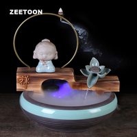 110 240V Lucky Feng Shui Desktop Ornament Water Fountain Little Buddha Fish Tank Water Features Atomizer Backflow Incense Burner