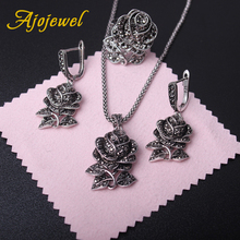 Ajojewel Vintage Black Rhinestones Rose Flower Jewelry Sets For Women Necklace Earring And Ring Elegant Party Gift
