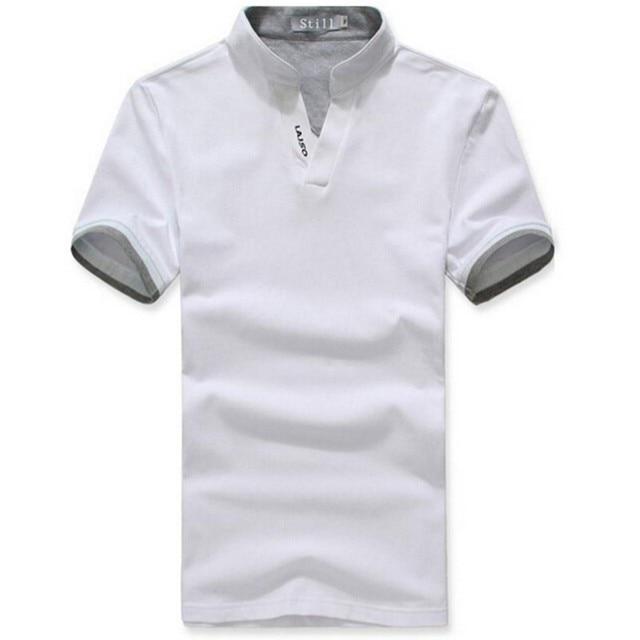 9bf932354b Moda Camisa PÓLO de Lapela Dos Homens do Algodão V Pescoço Camisas de Manga  Curta XXXL