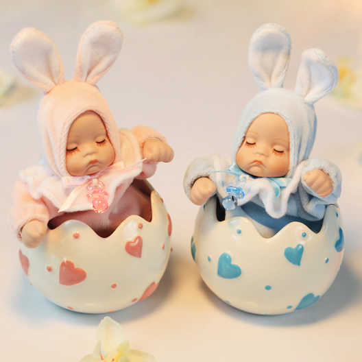 Baby Rabbit Ceramic Bobble Head Doll Music Box Half Egg