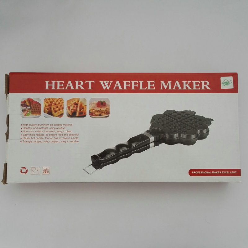 AMW DIY Heart Shape Non stick Metal Belgium Egg Waffle Maker Mini Baking Mold Kitchen Tools