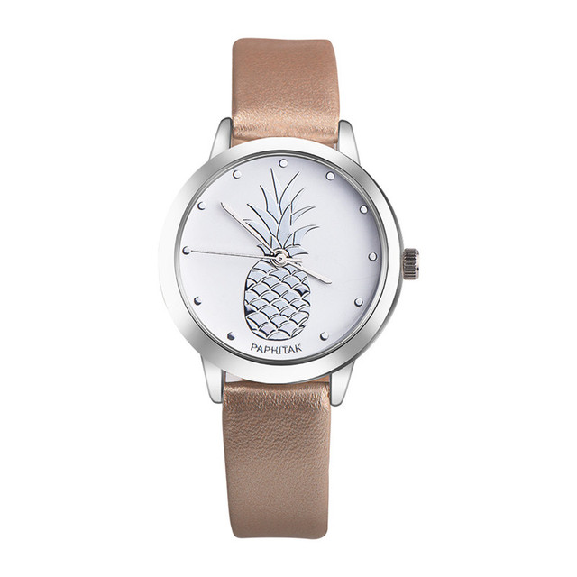 2018 New Pineapple Faux Leather Watch Women Stylish Quartz Watch Bracelet Watches For Women Clock hour Relojes Mujer #D