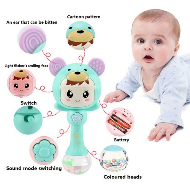 Baby Shaker Teether Sand Hammer Cartoon Teething Illuminant Musical Instrument Toys for Baby Girls and Boys Cute Baby Rattles