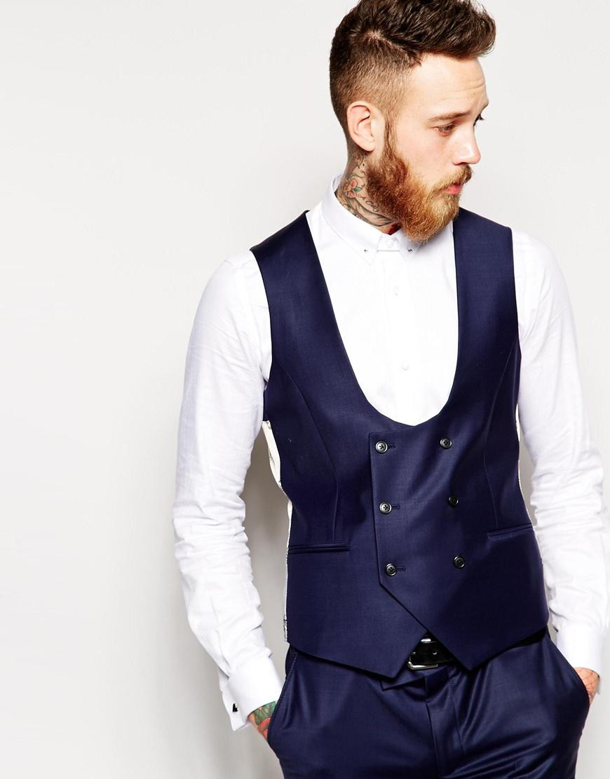 Brand New Groom Vest Navy Blue GroomsmensBest Man Vest Custom Made Size And Color Double-Breasted Wedding/Prom/Dinner Waistcoat