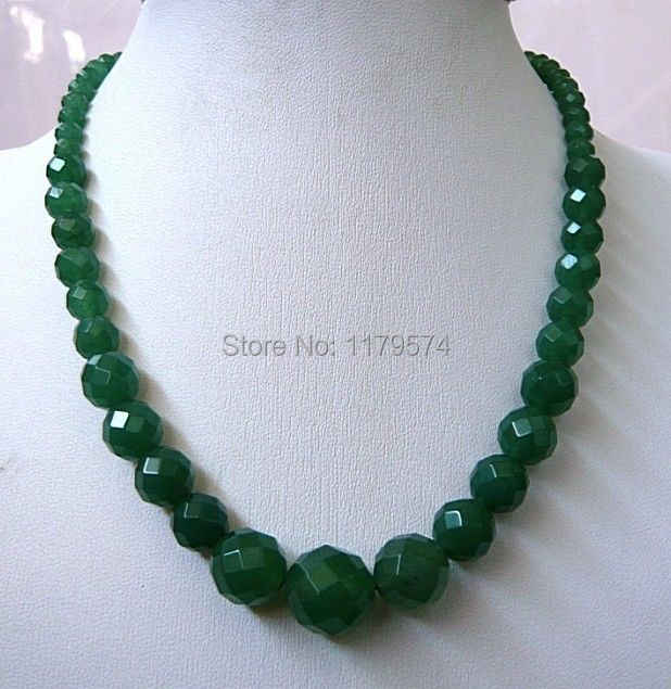 "Hot new 14mm Green Aventurine Necklace 6-Faceted jewelry fashion shopping girl Round Beads Necklace Christmas gifts 18"" ZH0233"
