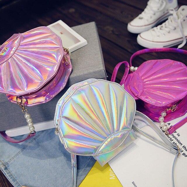 2017 Fashion brand design laser sweet shell chain shoulder bag clutch bag girl's messenger bag handbag flap