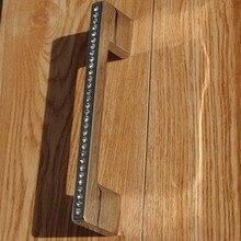 128MM luxury glass crystal handle diamond kitchen cabinet wardrobe door pull handle silver dresser cupboard door