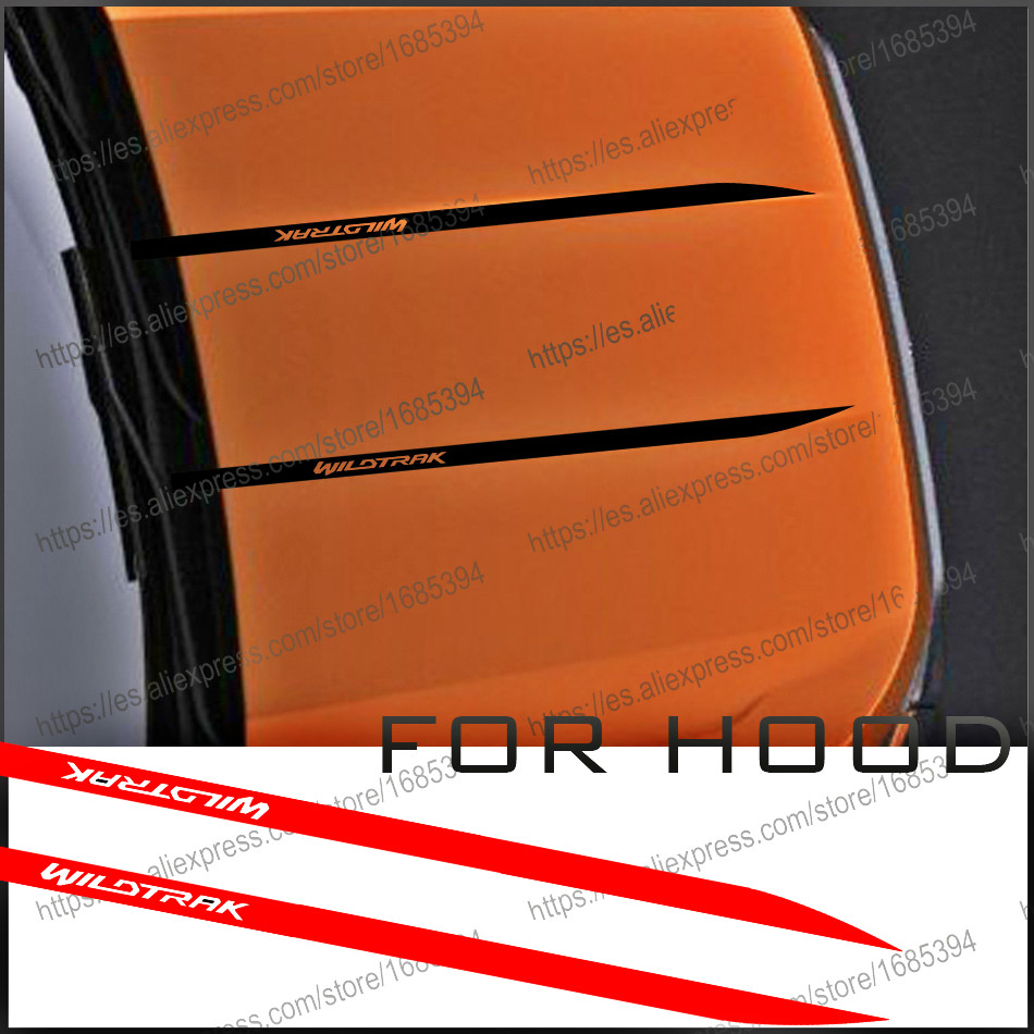 free shipping  2 PC cool hood bonnet Gradient side stripe graphic Vinyl sticker for  Ford ranger 2015 2016 2017sticker   sticker