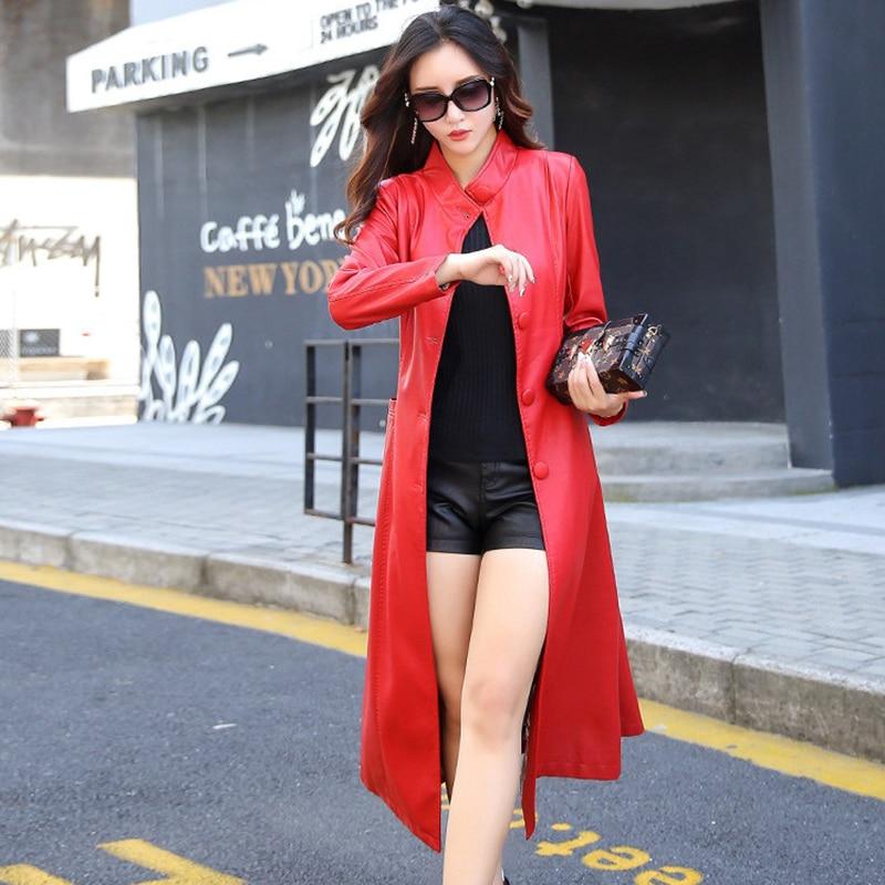 2018 La Taille Long red Automne Pu Gray vent Printemps Vêtements Slim Femmes Femaleodfvebx Coupe Col Nouveau Plus Veste M black En 5xl Casual Cuir n7gxgOEY