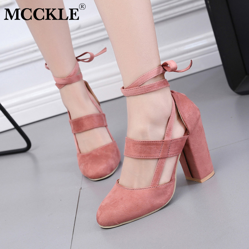 MCCKLE Weibliche Mode Knöchel Riemen Zwei Stück Schwarz Chunky Ferse High Heels 2018 frauen Bequem Pumpen Damen Plus Größe schuhe