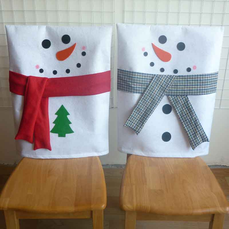 Lovely Snowman Xmas Chair Cover Spandex Thicker Cloth For Dinner