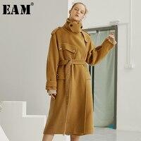 [EAM] Высокое качество 2018 осень зима Классическая длинная куртка с секциями талии зашнуровать тонкий отложной воротник пальто цвета хаки нов