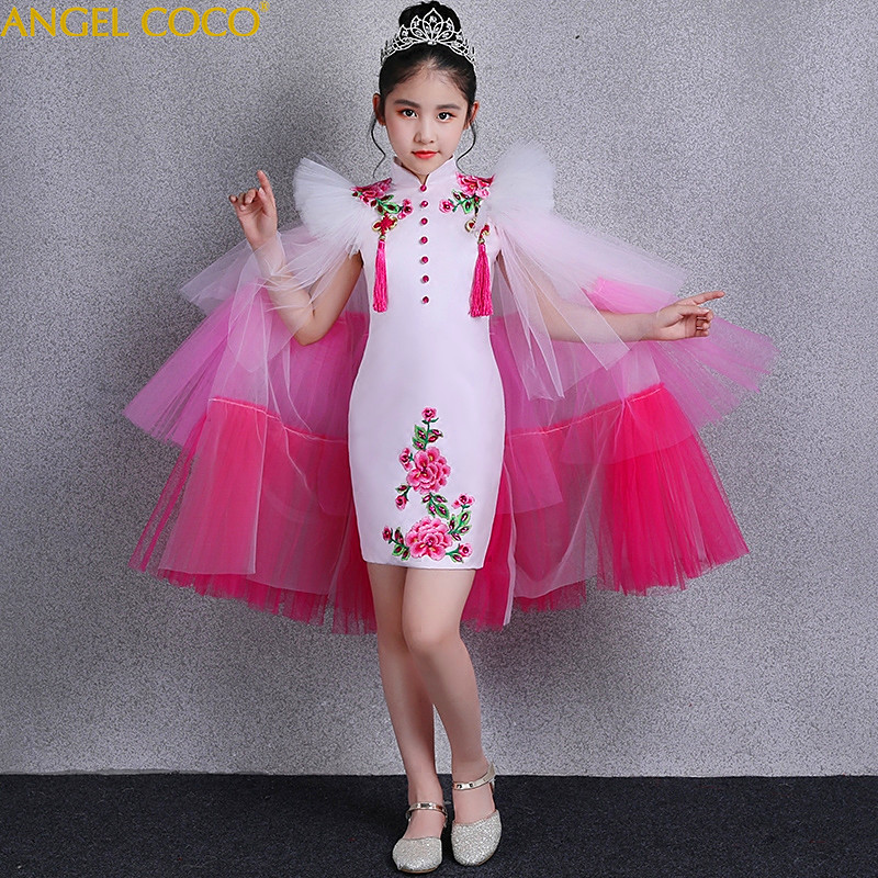 2 Pieces Chinese Girls Cheongsam 2018 New Summer Detachable Catwalk Costumes Children Girl China Style Carnaval Princess Dress 3 pieces new chinese style spring winter girl boy baby brand fu cheongsam kid costume tangzhuang children set birthday cloth
