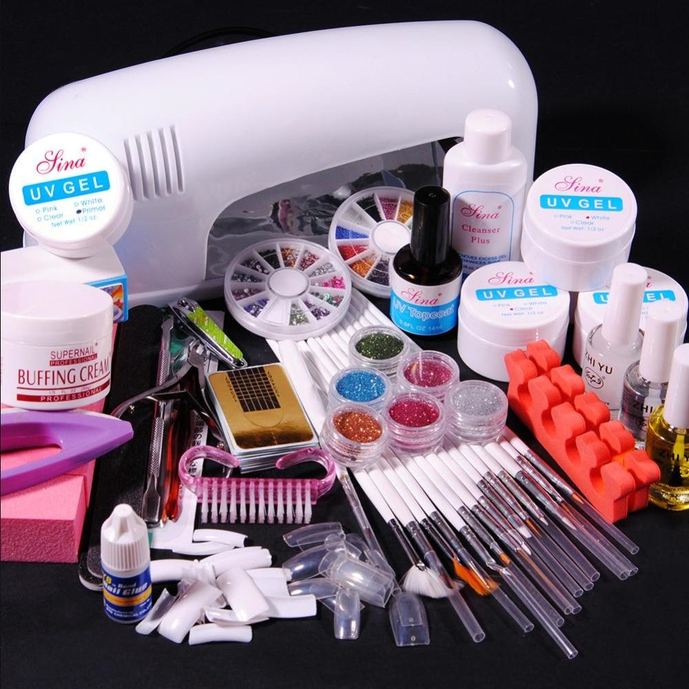 Gel Nail Soak Off Kit: Nail UV Gel Kit 9W UV Lamp Kit Brush Nail Tips Soak Off