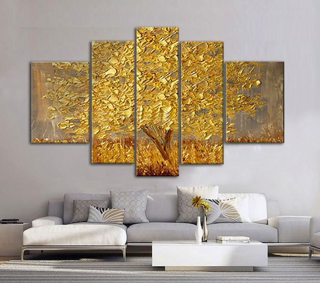5 Piece Hand Painted Canvas Art Acrylic Oil Painting Palette Knife Silver Gold Abstract Art Modern