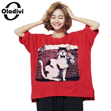 Oladivi Plus Size Clothing Fashion Animal Print Women Tops Tees Casual Lady Shirt Tunic Loose Style Girl T-Shirt 2017 Summer New