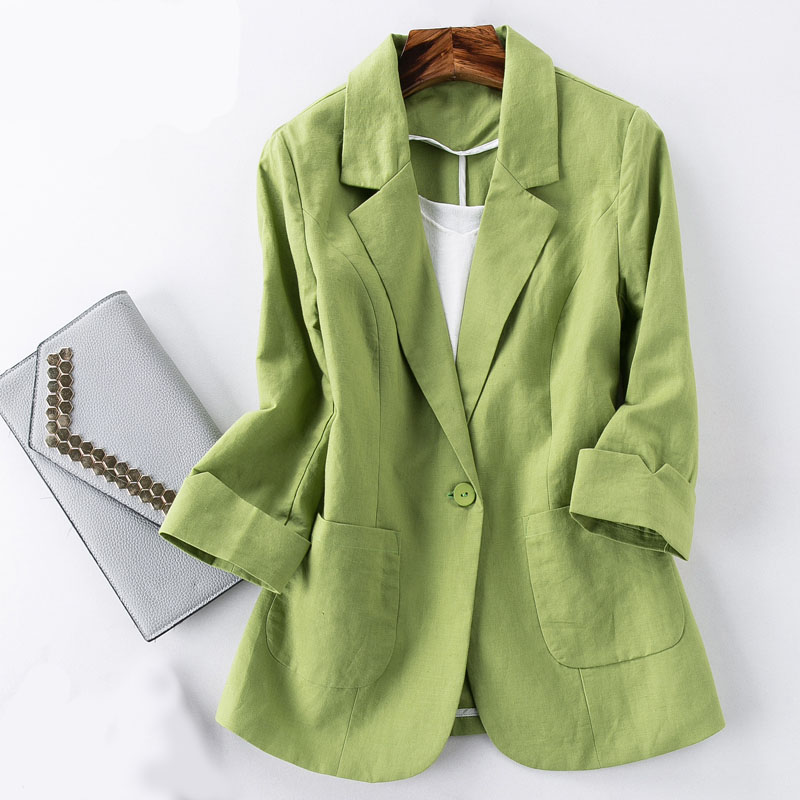 Cotton And Linen Small Suit Women's Jacket Autumn Spring And Summer Fashion Slim Slimming Cropped Sleeves Short Shirt Green