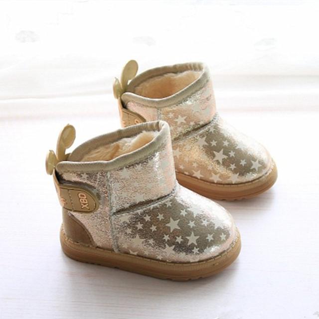 Invierno de los niños botas de nieve niñas botas zapatos luminosos de cuero caliente niñas zapatos de bebé zapatos de niña botas botas con pieles en el interior rosa