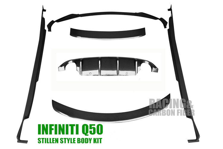 buy 2013 q50 carbon fiber body kits for infiniti q50 incl front splitter lip. Black Bedroom Furniture Sets. Home Design Ideas