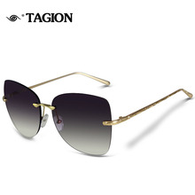TAGION Brand 2017 New Arrival Rimeless Frame Sunglasses For Female Glassess Vintage Sunglass 6818