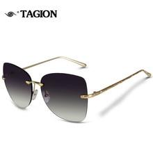 TAGION Brand 2017 New Arrival Rimeless Frame Sunglasses For Female Glassess Vintage Sunglass 6818