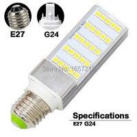 NUEVO 1 Unids De Fundición De Aluminio 5 W E27 LED de la lámpara Plug Horizontal luz AC 85 V 110 V 220 V 265 V Ultra brillante SMD 5050 25 LEDs Bombilla Del Maíz Del LED