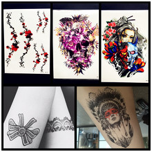 Sexy Women Temporary Tattoo Plum Blossom Waterproof Henna Skull Tattoo Stickers 21x15CM MEn LArge Body Art ARm LEg Tatoo Flower
