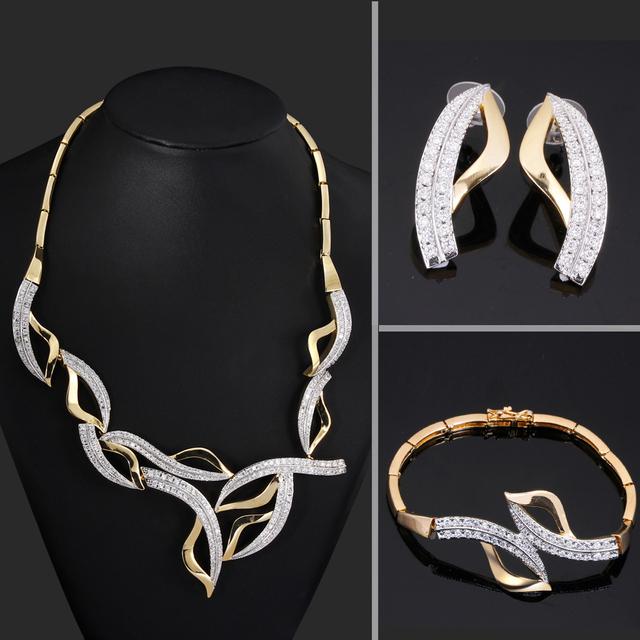 Fashions dubai sistemas de la joyería Zirconia collar y pendientes Joyería nupcial establece Nuevo collar de la declaración 2017 de la marca nuevos conjuntos