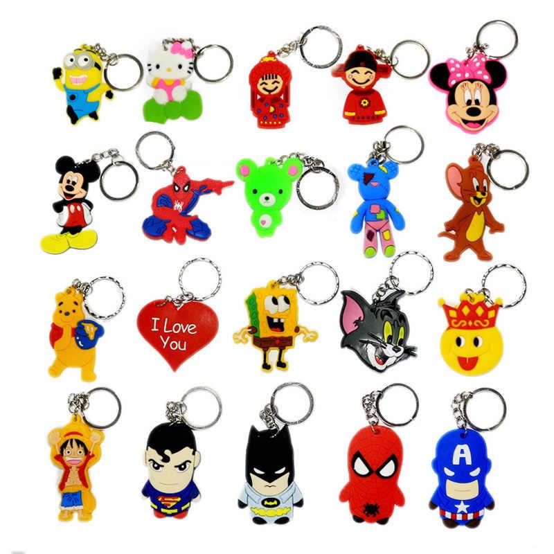 20 pçs/lote mini Bonito Dos Desenhos Animados Keychain pequenos presentes mini Bonito Dos Desenhos Animados Saco chave Pingente anel Japonês anime Avengers Capitão Batman