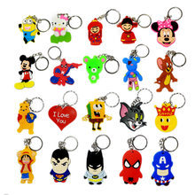 20PCS/lot mini Cute Cartoon Keychain small gifts mini Cute Cartoon Bag Pendant key ring Japanese anime Avengers Captain Batman(China)
