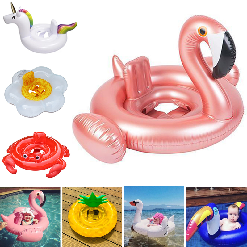 Flamingo/Unicon/Swan/Toucan/Crab/Flower/Watermelon/Pineapple Baby Ride-on Swimming Ring Inflatable Pool Float Summer Party Toys