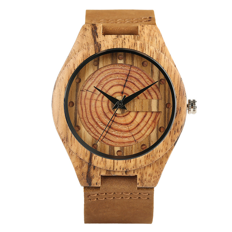 Retro Zebra Wood Watch Men's Annual Ring Round Dial Clock Male Quartz Wristwatch Soft Brown Genuine Leather Band Watches for Men 100% original yazole luxury blue ray shockproof genuine leather round dial dress quartz wristwatch watch for men male no 332