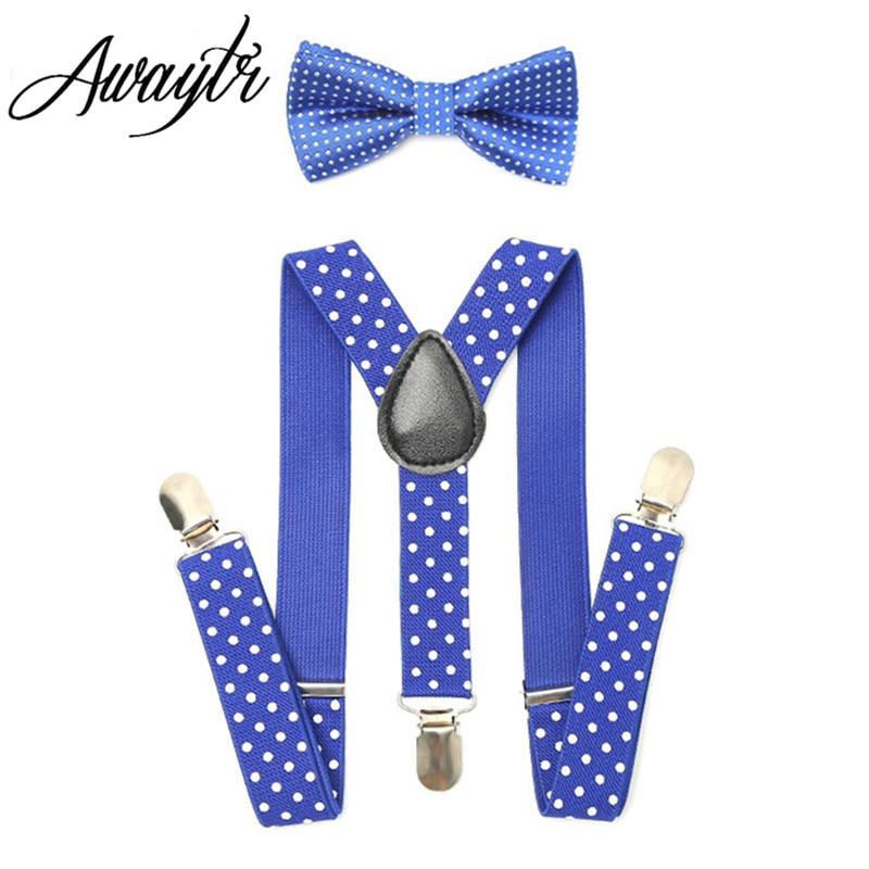 Awaytr elastische jarretels 2017 baby boy bretels en strikje set voor kinderen verstelbare haarspelden kids jarretels Tirantes