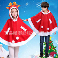 2017 New High Quality Children Christmas Cloak Boy Girl Xmas Red Reindeer Cloak Christmas Show Kid