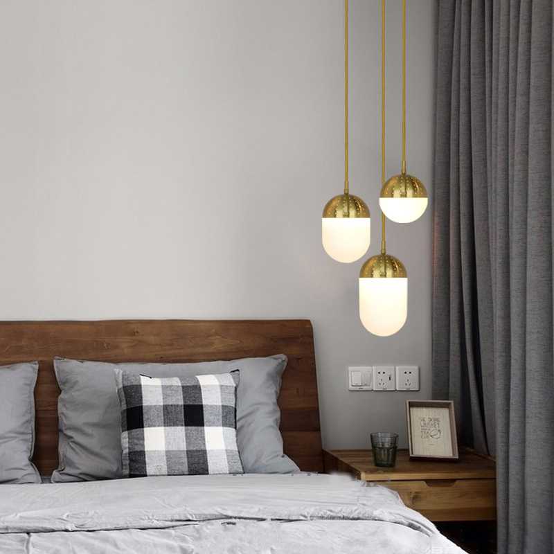 Modern Restaurant Bar Pendant Lamps Nordic Simple Bedroom Glass Ball Hanging Lamp Living Room Gold led Pendant Lights Fixture modern mirror sliver glass pendant lights lustres spherical globle ball pendant lamps hanging light fixture luminaria