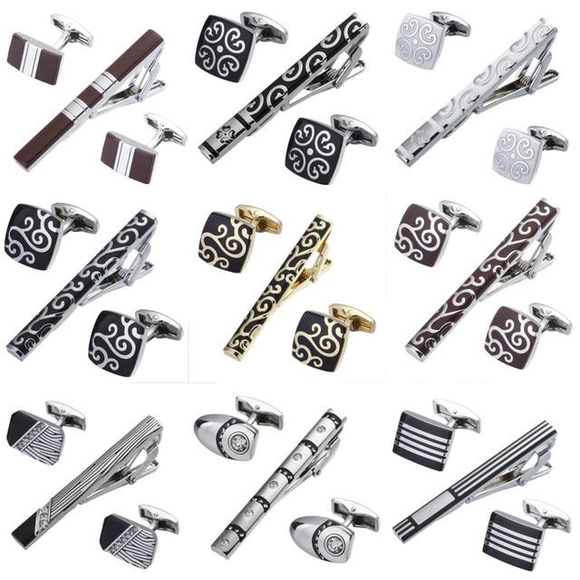 High quality tie clip Cufflinks suit 14 styles of hexagonal design brand men's wedding jewelry Tie Shirt Cufflinks tie clip