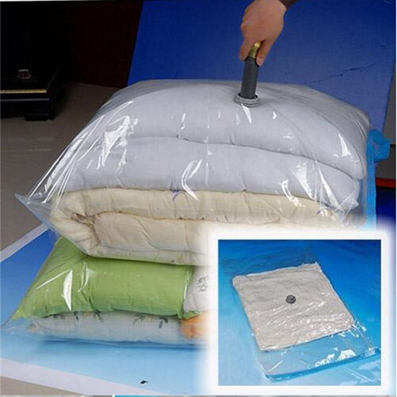 Transparent Plastic Vacuum Storage Bag Airtight Reusable Compressed Clothes Organizer Space Saving Seal Bags for Quilts Blankets compact space saver vacuum compressed seal storage bags 70 100cm 2 pack