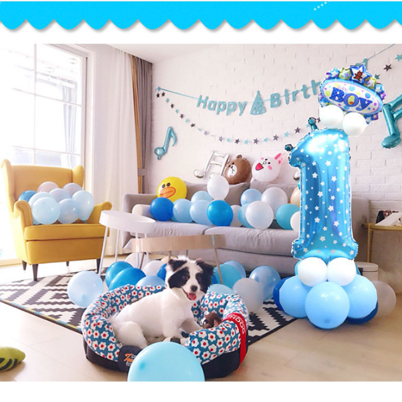 32-inch Digital Balloon Cartoon Inflatable Children Birthday Party Layout Decoration Party Hat Column Balloon
