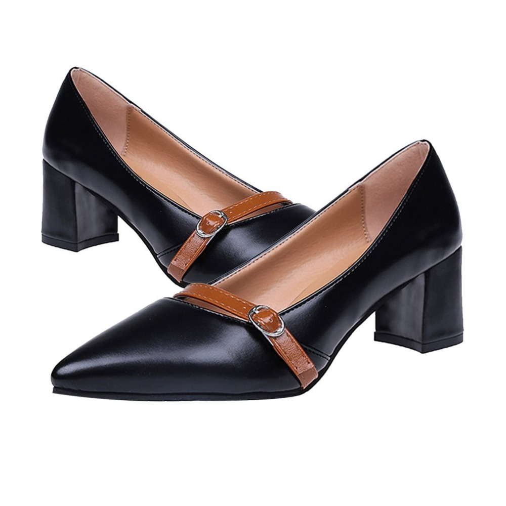 Elegant Casual Middle-Heel Low-cut Mary Jane Shoes Slip On Pointed Toe PU Shoes with 5.5cm Square Heel for Women mary sterling jane algebra ii essentials for dummies