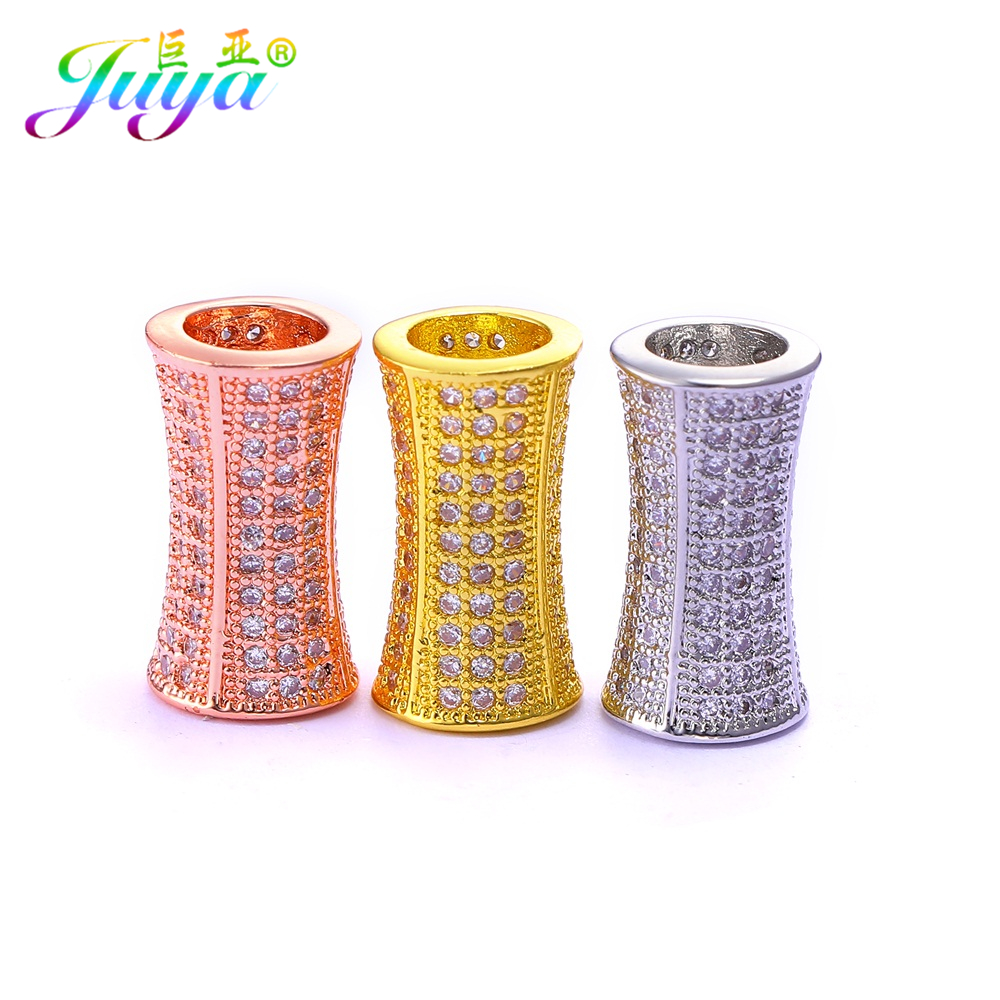 Beaded Jewelry Components Gold/Silver/Rose Gold Hollow Metal Tube Beads Jewelry Accessories For Handmade Beadwork Jewelry Making