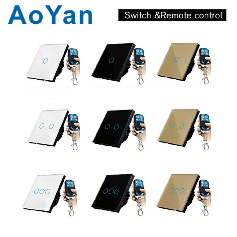 AoYan EU/UK Standard TLINK Remote Control Switch 1 Gang 1 Way RF433 Smart Wall Switch Wireless remote control touch light switch eu uk standard funry remote control switch 1 gang 1 way rf433 smart wall switch wireless remote control touch light switch