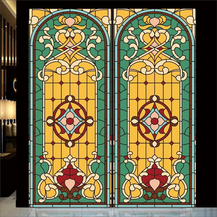 Static film Custom stained glass church window film ceiling room balcony <font><b>sliding</b></font> door <font><b>wardrobe</b></font> health thickened remove sticker