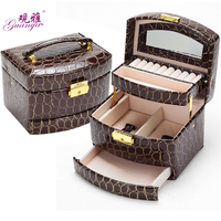 South Korean High End Leather Jewelry Box Large Capacity Multi Cosmetic Birthday Gift Jewelry Storage Box