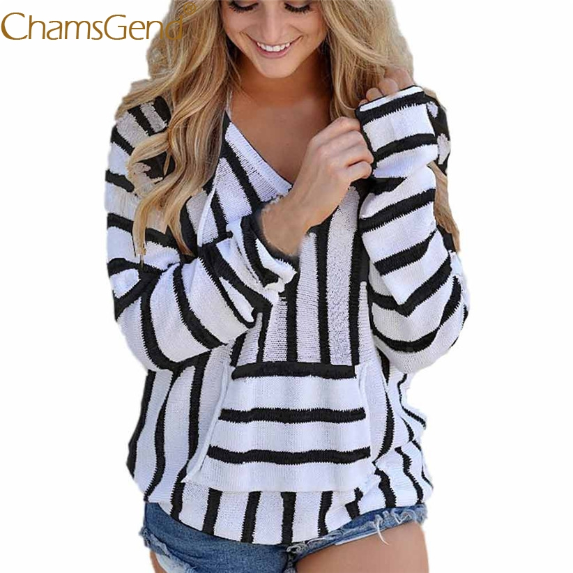 Chamsgend Newly Design Vertical Striped Knitted Hoodie Sweatshirt Women V Neck Loose Pullover Jumpers Shirt Coat 71023